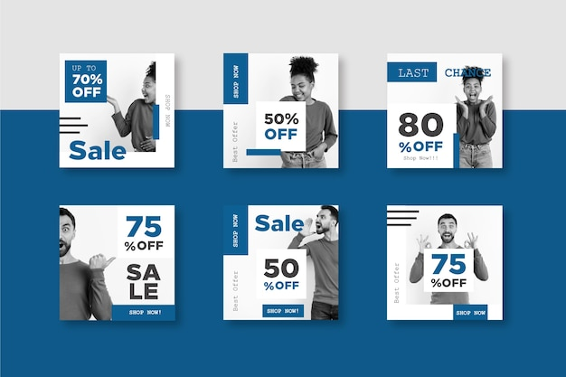 Color of the year 2020 social media sales post template Free Vector