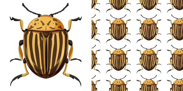 Insetto dello scarabeo di colorado e priorità bassa senza giunte Vettore gratuito