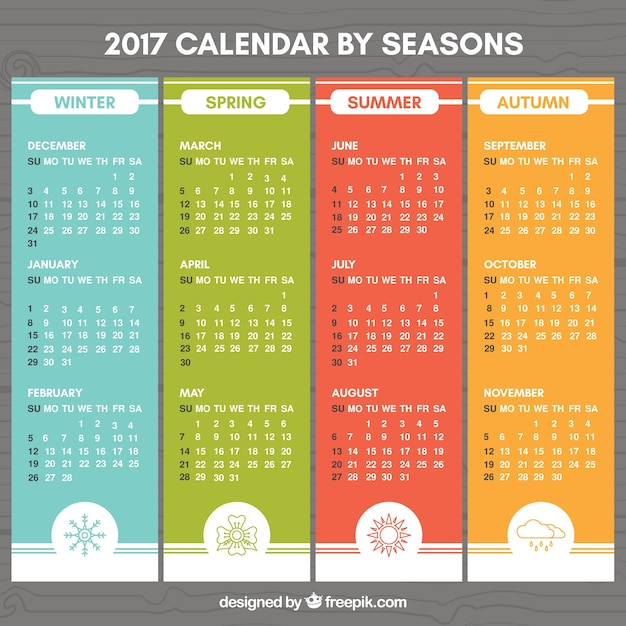 Colored 2017 calendar with drawings of the seasons Vector | Premium ...