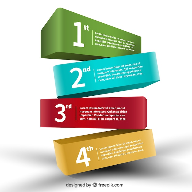 Colored 3d banners infographic Premium Vector