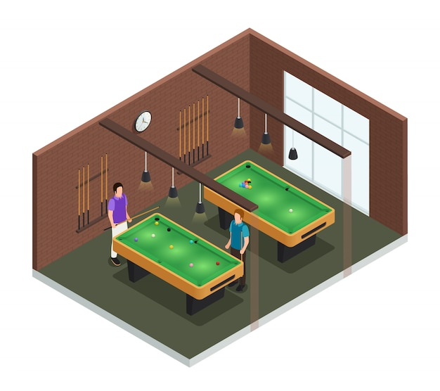 Colored 3d isometric game club interior composition room with pool table and players vector illustration Free Vector