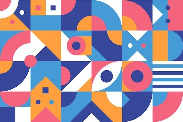 색깔 된 추상적 인 기하학적 배경 평면 디자인 무료 벡터