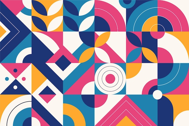 Colored abstract geometric shapes flat design Free Vector