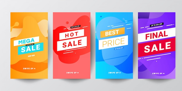 Colored abstract modern graphic banner sets for stories Premium Vector