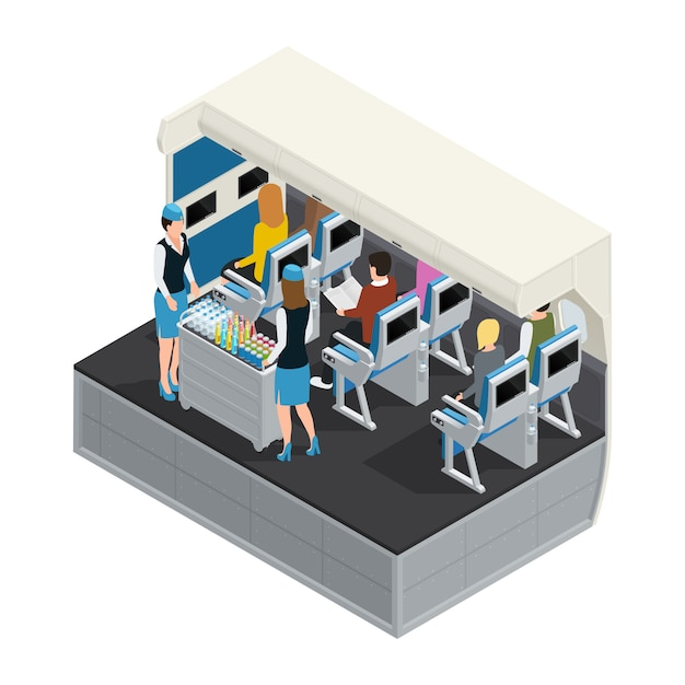 Colored airplane interior isometric composition with lunch Free Vector