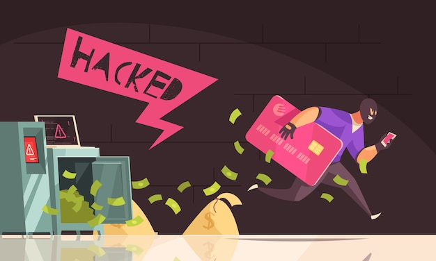 Цветной и плоский хакер убегает состав человека украсть кредитную карту и работает векторная иллюстрация Бесплатные векторы
