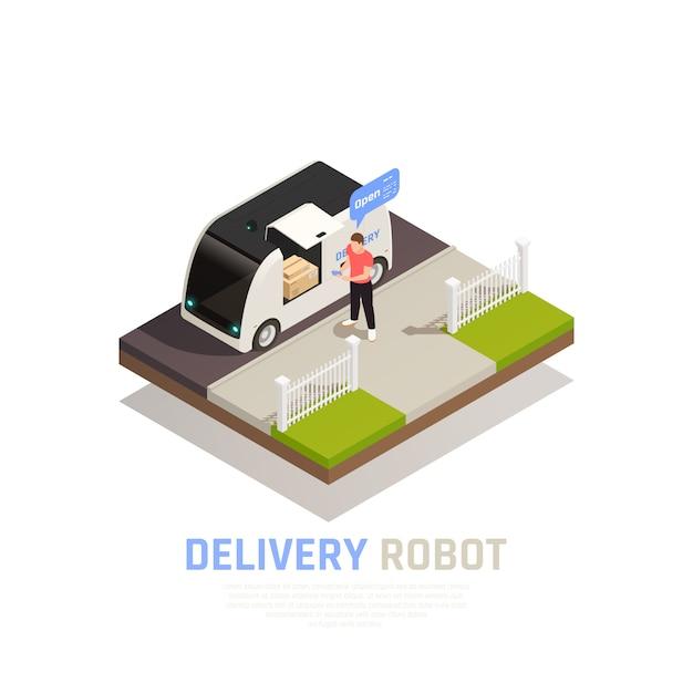 배달 로봇 제목과 음식 트레일러 벡터 일러스트와 함께 컬러와 아이소 메트릭 스마트 도시 조성 배너 무료 벡터