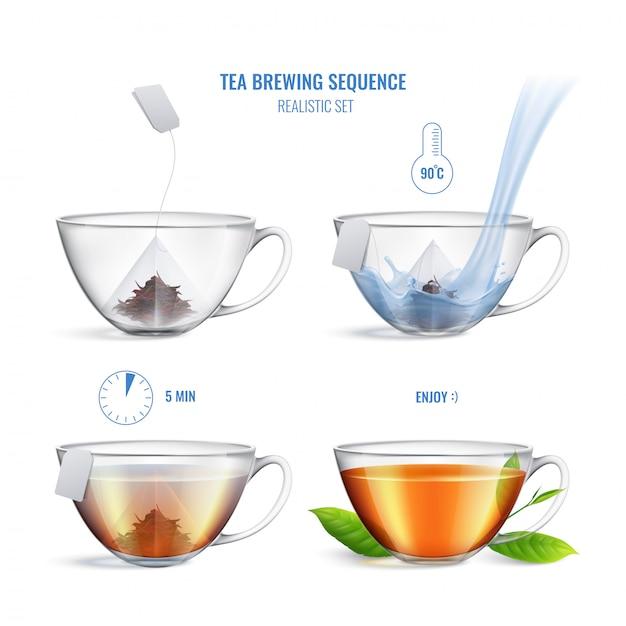 Цветная и реалистичная композиция для заваривания чая с четырьмя шагами и инструкцией, векторная иллюстрация Бесплатные векторы