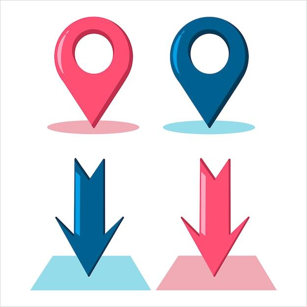 Colored arrows. location signs. geolocation icons. Premium Vector