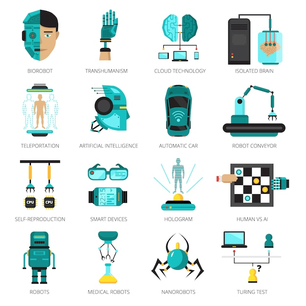 Colored artificial intelligence icon set Free Vector