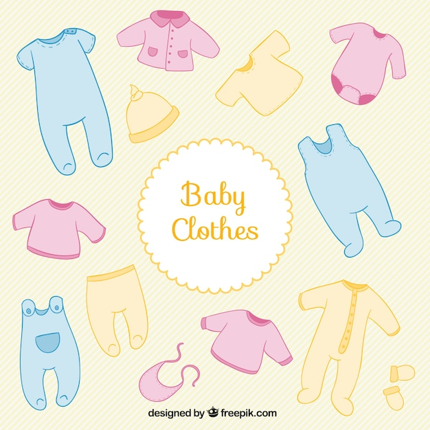 colored baby shower clothes vector free download