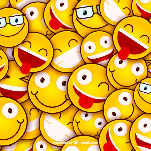 Colored background with emoticons in flat design Free Vector