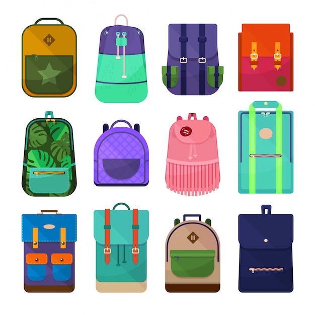 Colored backpacks clip art isolated on white background. Premium Vector
