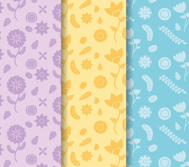 Colored banners flowers decoration colored flower blue, yellow, purple illustration Free Vector