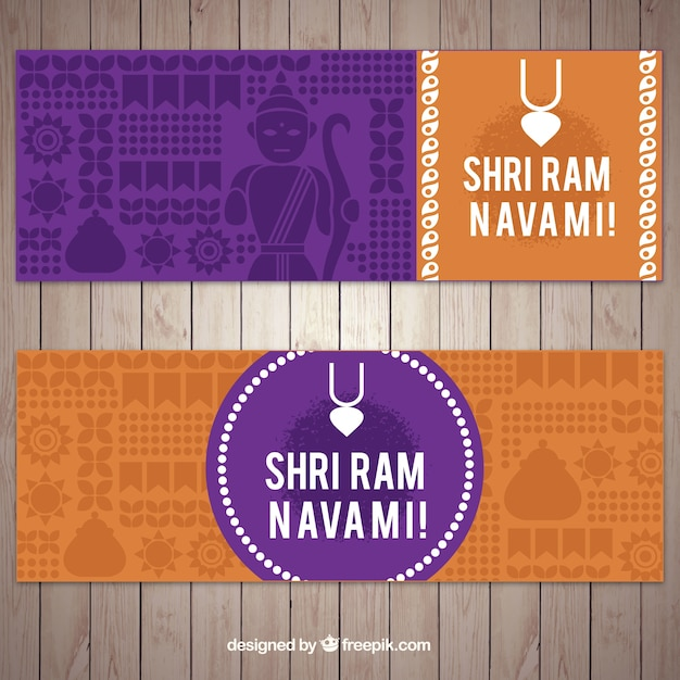 Colored banners for ram navami in flat\ design