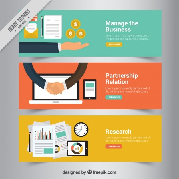 Colored banners of business Free Vector