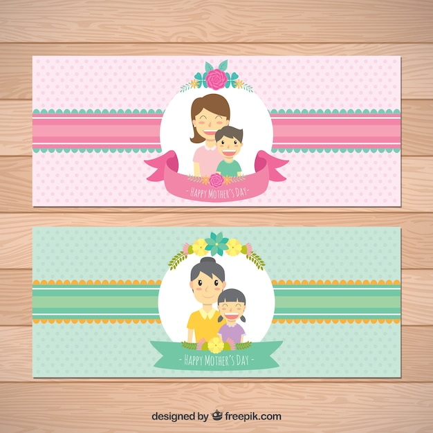 Colored banners with happy women for mother\'s\ day