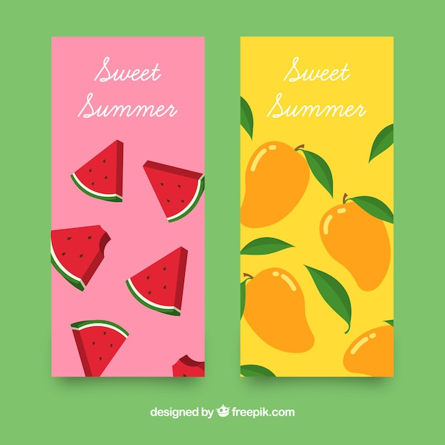 Colored banners with summer fruits Free Vector