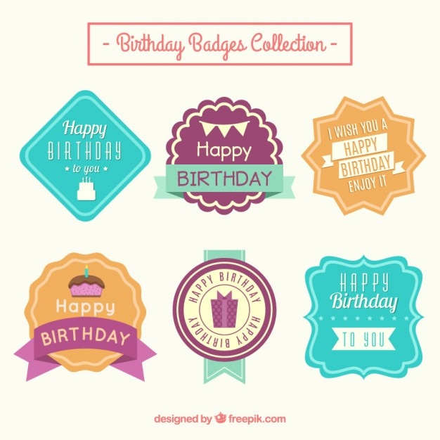 Was Ist Vintage colored birthday labels in vintage style vector free