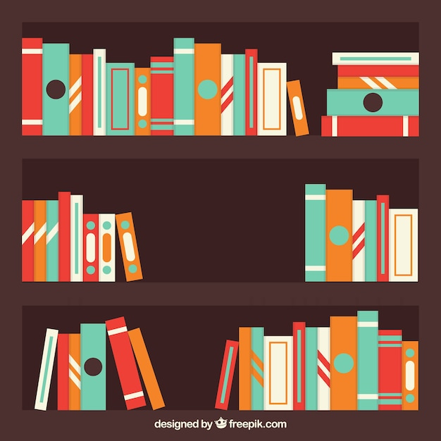 Colored books background on a shelf Free Vector