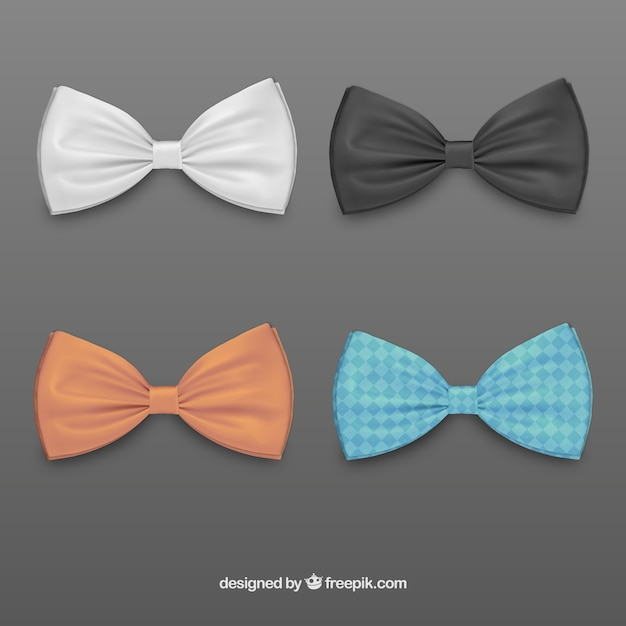 Colored bow ties Free Vector