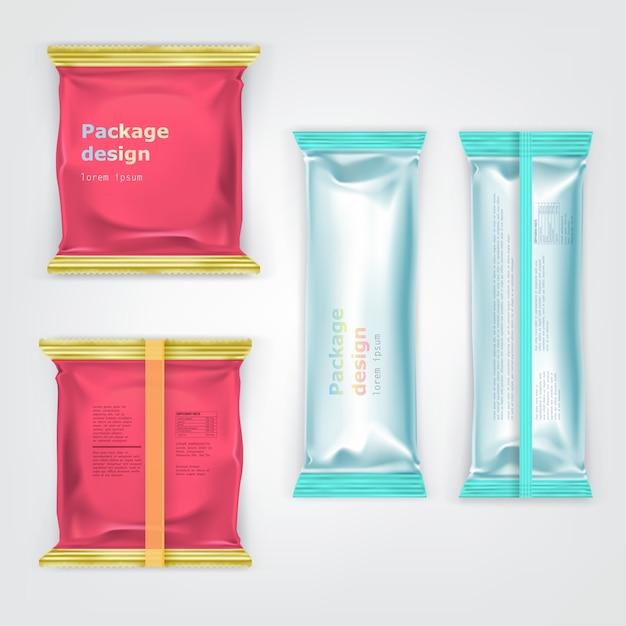 Colored branded foil food packages vector set