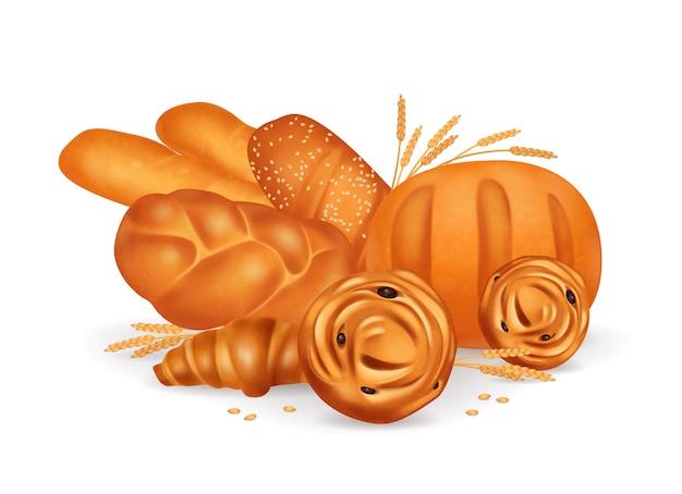 Цветные хлебобулочные реалистичные композиции с круассанами багеты булочки на белом фоне иллюстрации Бесплатные векторы