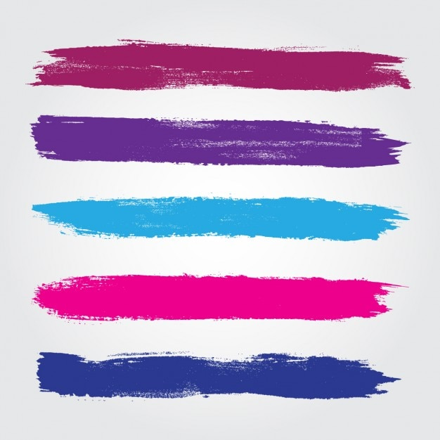 Colored brush strokes collection Free Vector