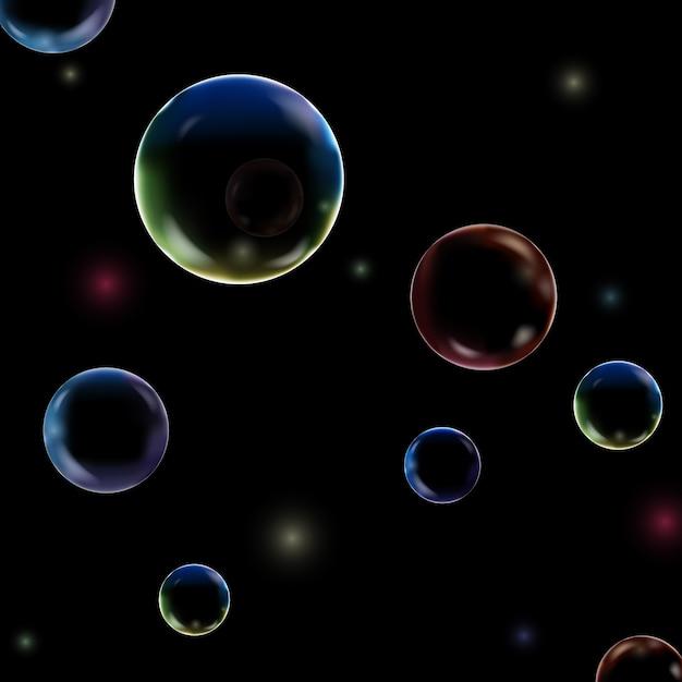 Покрашенная текстура пузырей подводная изолированная на черной предпосылке. шипучий воздух, газ или чистые пузырьки кислорода под морской водой. Premium векторы