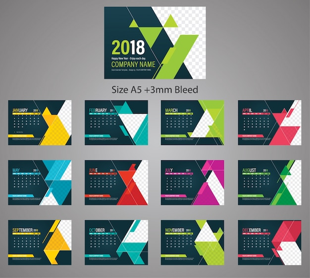 Colored Business Desk Calendar 2018 Template Size A5 With 3mm Bleed