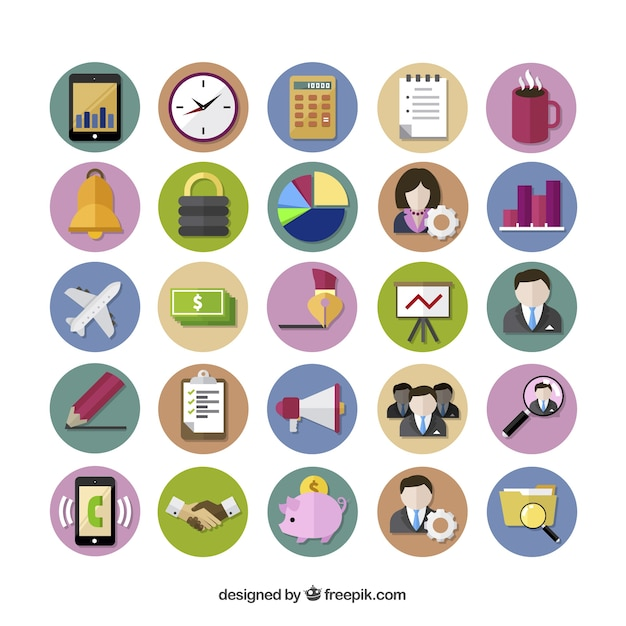 Colored business icons Free Vector