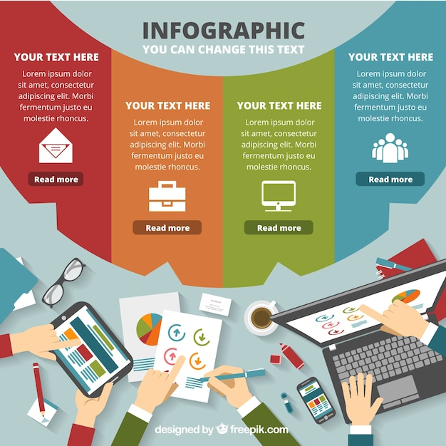 Colored business infographic template vector free download colored business infographic template free vector flashek Image collections