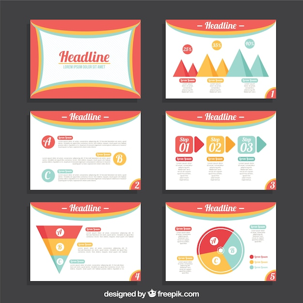Colored business presentation template Free Vector