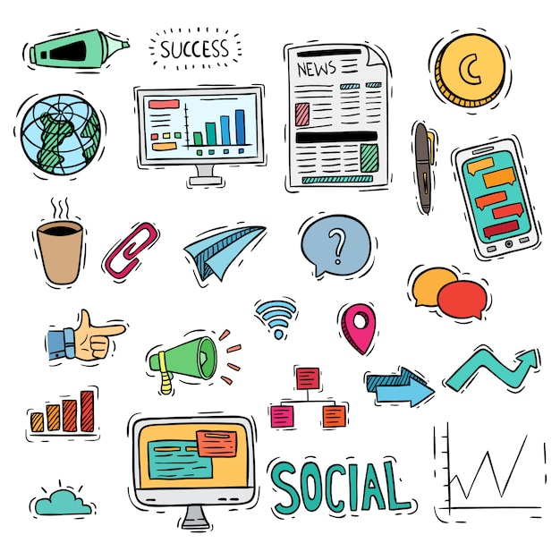 Colored business or social media icons with doodle style Premium Vector