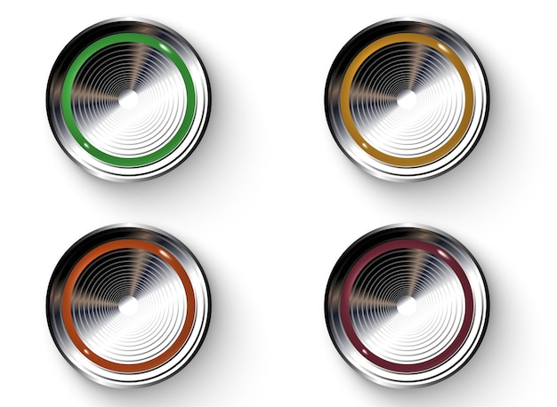 Colored buttons with metallic borders. Premium Vector