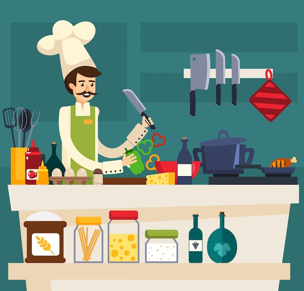 Colored cafe worker composition Free Vector
