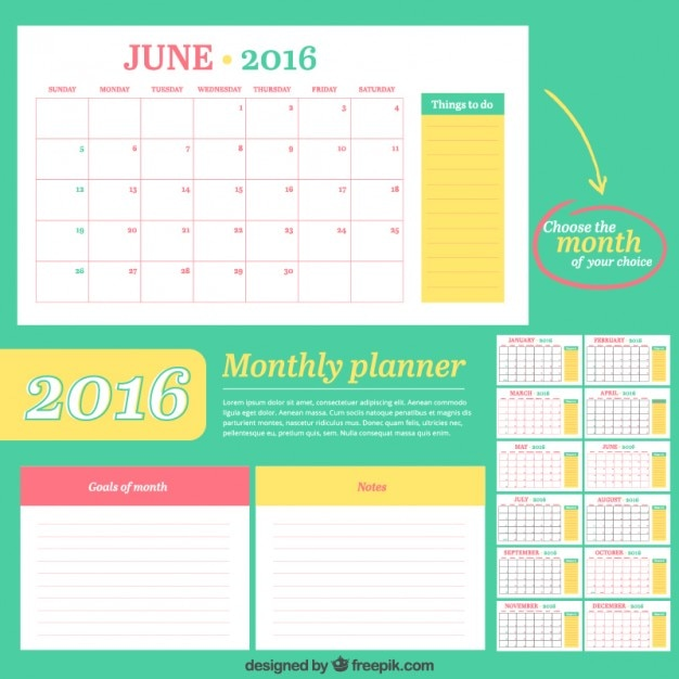 Calendar Planner Vector Free : Colored calendar set vector free download