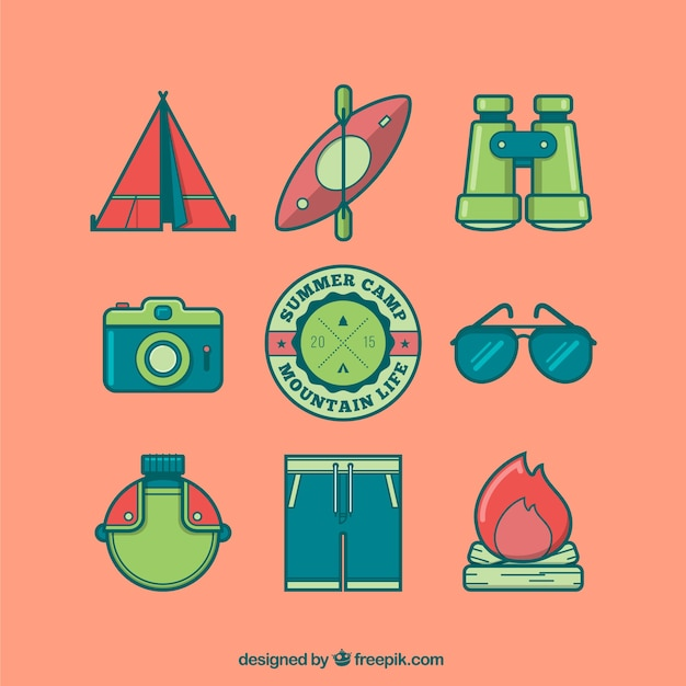 Colored camping icons