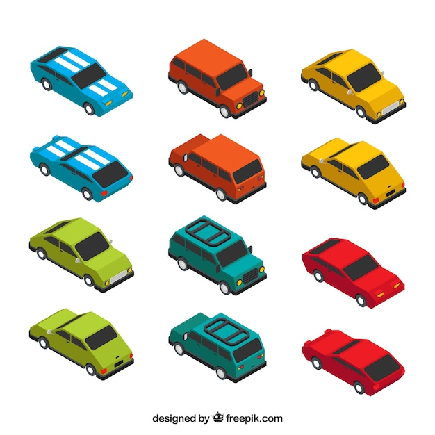 Colored cars pack in isometric style Free Vector