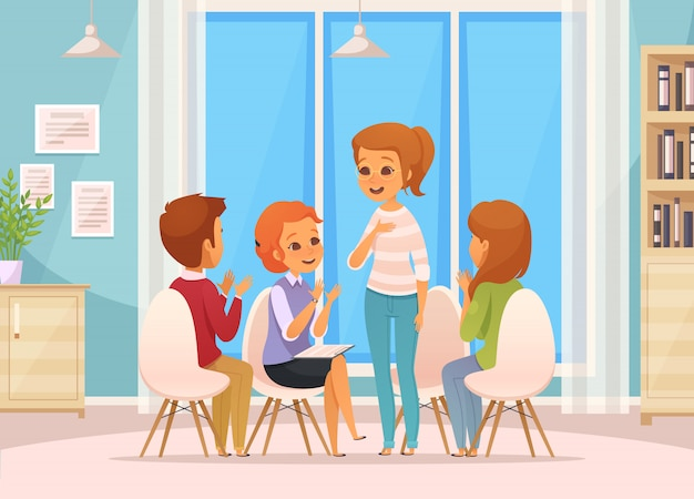 Colored cartoon group therapy composition with four children talk on group therapy Free Vector