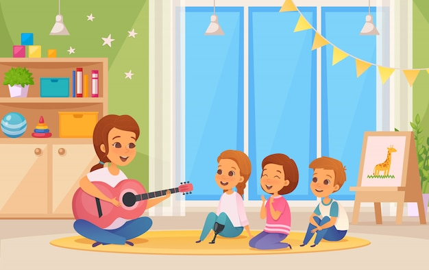 Colored and cartoon inclusion inclusive education composition with teacher who plays guitar illustration Free Vector