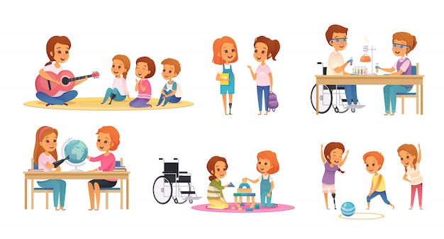 Colored and cartoon inclusion inclusive education icon set with disabled children learn and play illustration Free Vector