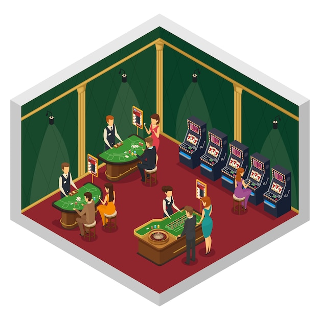 Colored casino isometric interior composition with two walls and red floor with gambling tables and visitors Free Vector