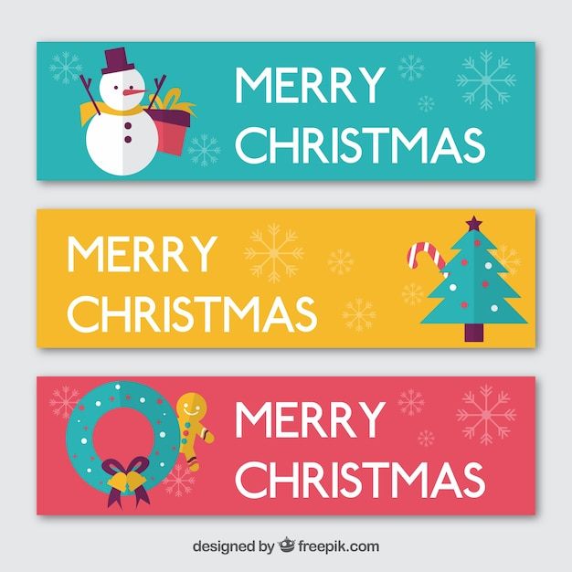 Colored christmas banners in flat design Vector | Free Download