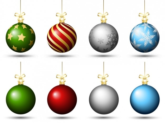 Colored christmas baubles pack Free Vector