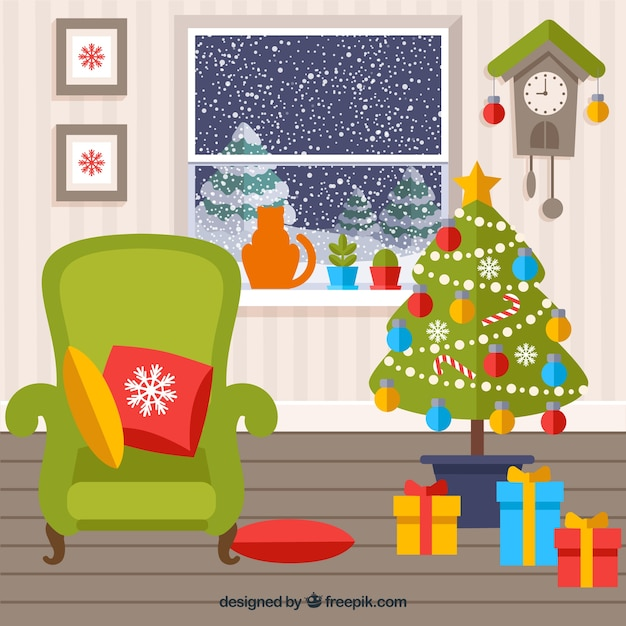Colored Christmas Living Room Free Vector