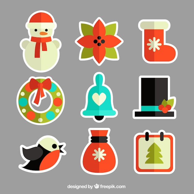 Colored christmas stickers