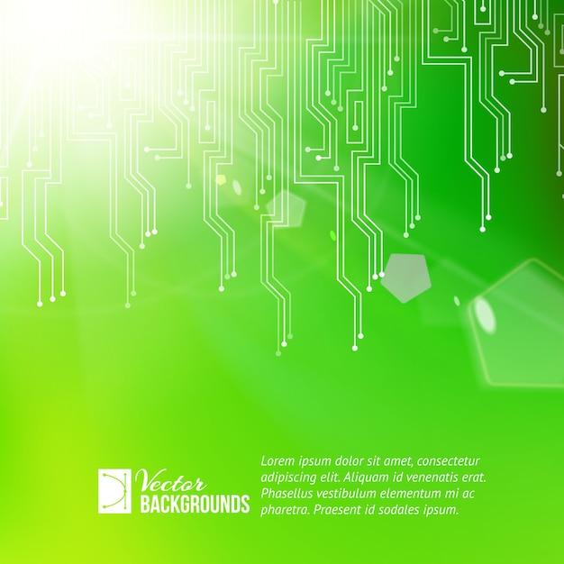 色付きの回路抽象化の背景とサンプルテキストテンプレート 無料ベクター
