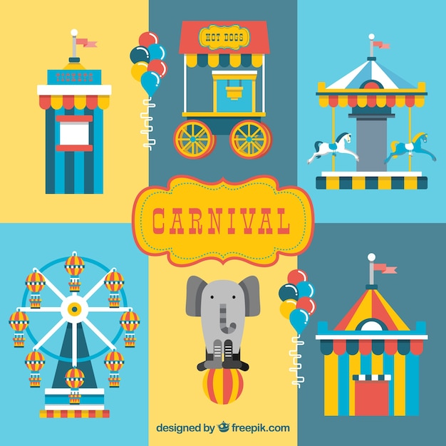 Colored circus elements in flat design Free Vector
