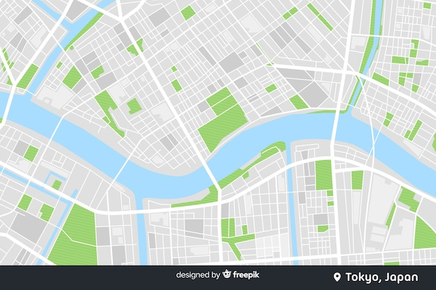 Colored city map digital concept Free Vector